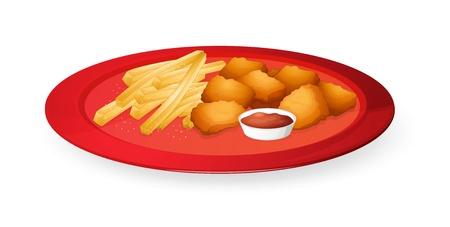 nuggets: illustration of fingerchips and bread cubes in a dish on a white background