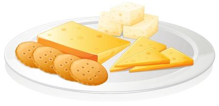 brie: illustratie van een koekjes en kaas op een witte achtergrond Stock Illustratie