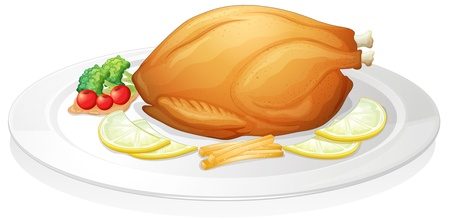 chicken roast: Ilustración de un pollo en un fondo blanco