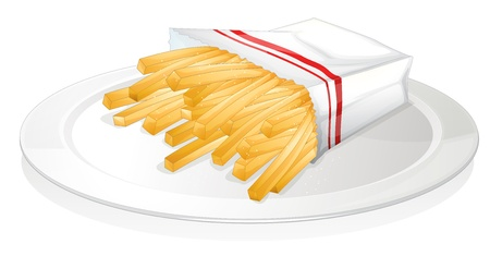 illustration of a french fries on a white background Vector