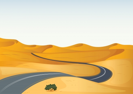 desert landscape: illustration of a yellow landscape and a road