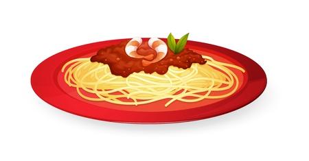 spaghetti saus: illustratie van noedels in plaat op een witte achtergrond