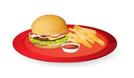 papas fritas: ilustración de fingerchips y hamburguesa en un plato rojo