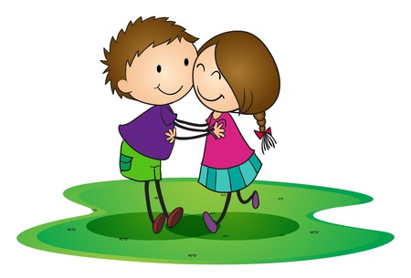 caring: illustration of a kids hugging each other