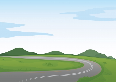 winding: illustration of a green landscape and a road Illustration