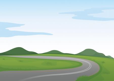 arte callejero: ilustraci�n de un paisaje verde y un camino