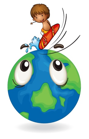 illustration of boy surfing on earth globe on white Vector