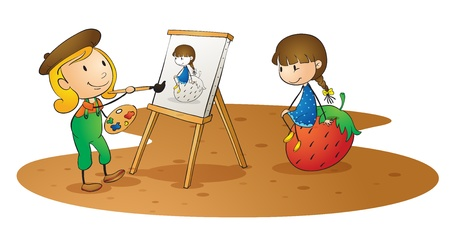 naughty girl: illustration of a girls doing painting on board
