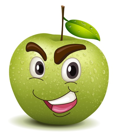 green smiley face: illustration of happy apple smiley on a white background Illustration