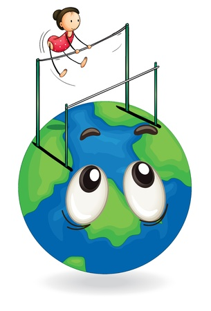 illustration of a girl playing double bar on earth globe Stock Vector - 15378660