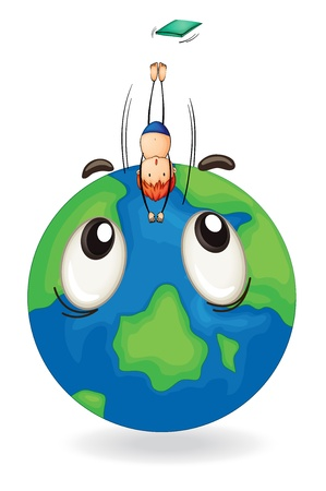 illustration of a boy diving on a earth globe Vector