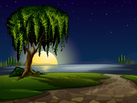 moonrise: illustration of a green landscape and lake in night