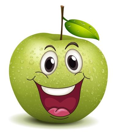 cara sonriente: ilustración de un sonriente feliz manzana sobre un fondo blanco