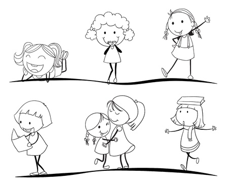 linework: kids activity sketches on a white background