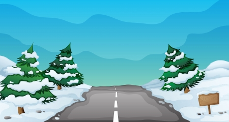 illustration of a snowy landscape and a road Vector