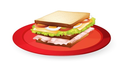 ham sandwich: illustration of a bread sandwich in red dish on white Illustration