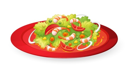 white plate: illustration of prawn salad in red dish on white