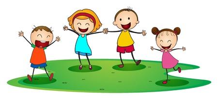 mujer hijos: ilustraci�n de unos ni�os jugando alegremente fuera