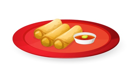 dipping: illustration of meat rolls in red dish on white Illustration