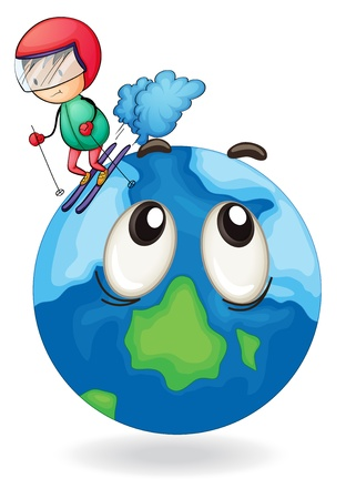 illustration of a boy playing skating on earth globe Stock Vector - 15378685