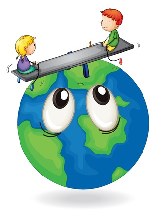 illustration of kids playing on earth globe Stock Vector - 15378715