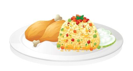 illustration de poulet avec de la salade dans un plat rouge