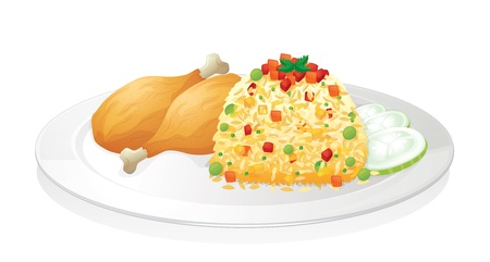 chicken rice: illustration of chicken with salad in red dish