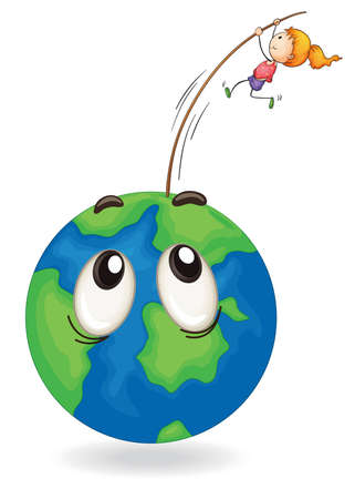 green little planet earth: illustration of a girl on a earth globe on white Illustration