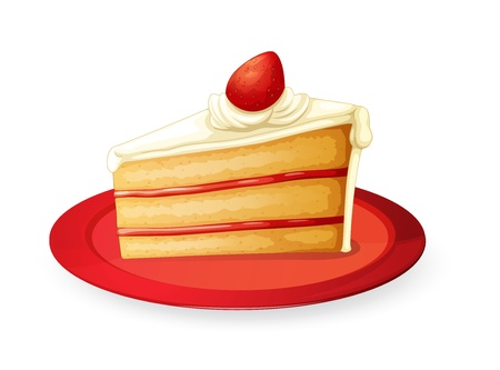 illustration of a pastry in red dish on white Illustration