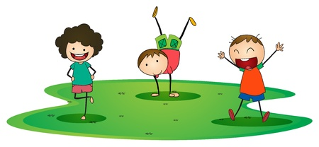 illustration of a kids happily playing outside Vector