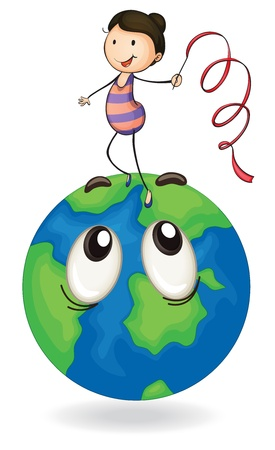 green little planet earth: illustration of girl playing on earth globe on a white Illustration