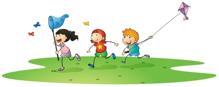 flying man: illustration of a kids playing with kites and butterflies Illustration
