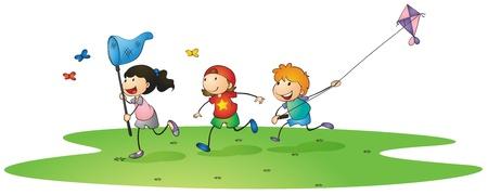 illustrazione di un bambini che giocano con gli aquiloni e farfalle