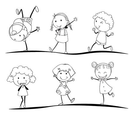 female child: kids activity sketches on a white background