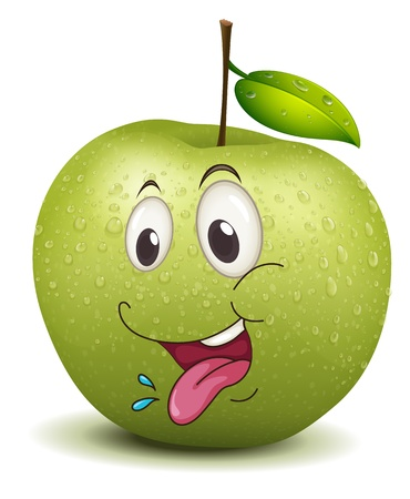 eye drops: illustration of hungry apple smiley on a white