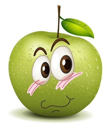 green smiley face: illustration of a surprised apple smiley on white