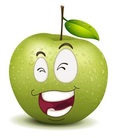 maliziosa: illustrazione di felice smiley mela su uno sfondo bianco Vettoriali