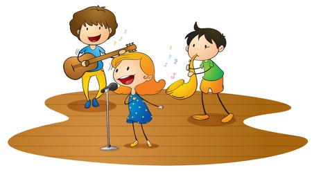 SINGING: illustration of a happy kids playing music