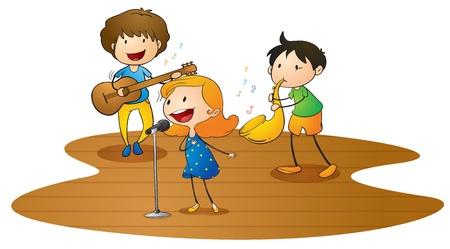 cantando: ilustración de un niños felices jugando música