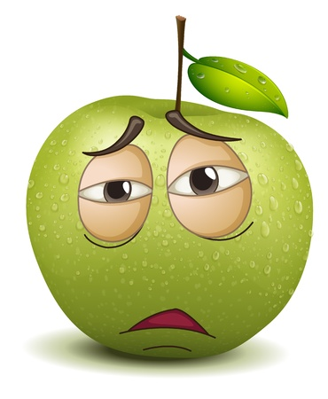 feeling sad: illustration of a sad apple smiley on a white background