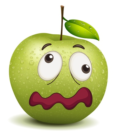 boring: illustration of a dull apple smiley on a white