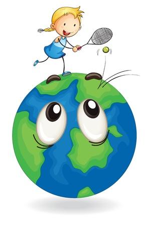 jugando tenis: ilustración de una niña jugando ttennis en el globo terrestre