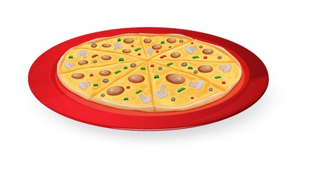 illustration on a pizza in a red dish on white Vector