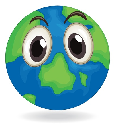 the green: illustration of earth globe face on a white Illustration