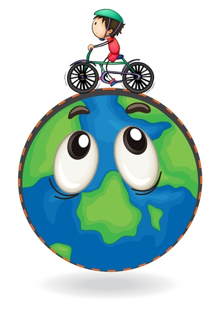 green little planet earth: illustration of a boy riding on bicycle on earth globe