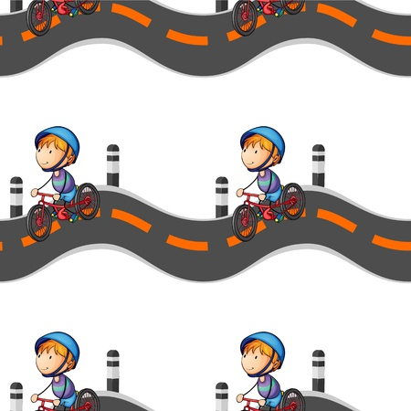 illustration of a boy riding on bicycle on white background Vector