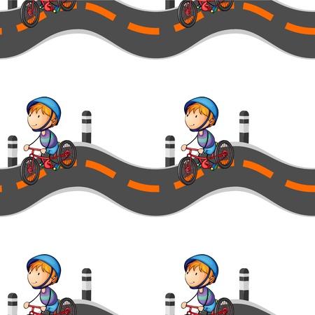 bicycle lane: illustration of a boy riding on bicycle on white background Illustration