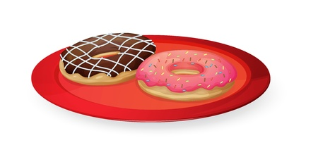 donut: illustration on donuts in red dish on white
