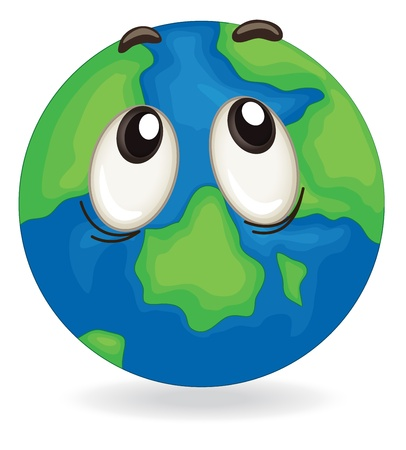 cartoon land: illustration of a earth globe face on white