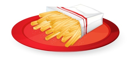 illustration of french fries in red dish on white Vector